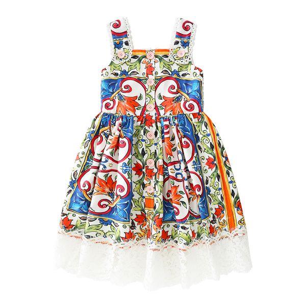 2019 Sunny Fashion Girls Summer Beach Print Buttons-up Cotton Lace Hem Slip Tea Strap Dresses for Kids African Attire Toddler Costume 6 8
