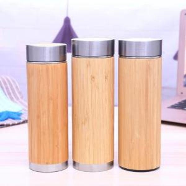 Botella de agua de bambú de acero inoxidable 360 ML 420 ML Botella de viaje de café aislada al vacío con infusor de té Colador OOA6323