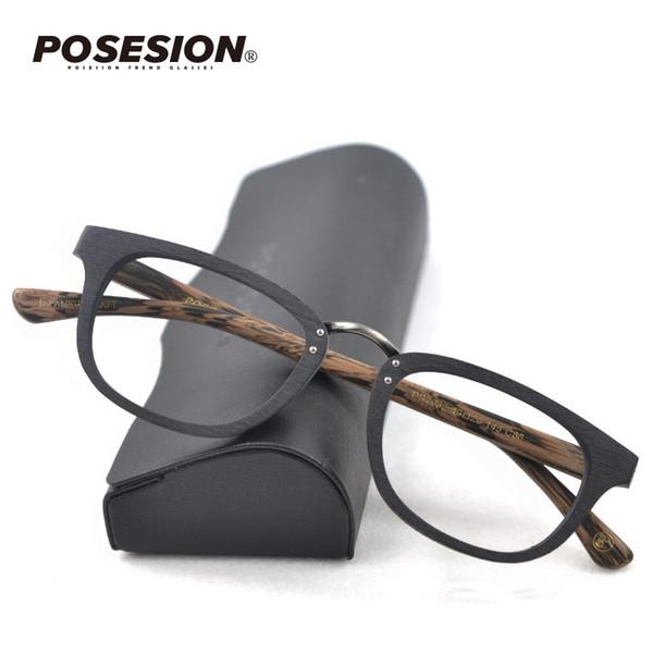 POSESION Small Face Brillengestell für Damen und Herren Optische Retro Holz Brillenfassung Brillenglas