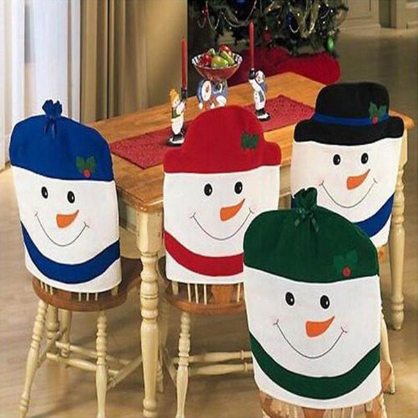 Cartoon 4Pieces / Set Snowman Chair Cover Christmas Decoration Supplies Christmas Decorations Festival Party Ornament