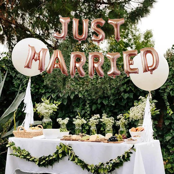 Leeiu 11 Pcs/Set 16 Inch Just Married Foil Balloons Wedding Decoration Rose Gold Balloons Bridal Shower Decor Party Supplies
