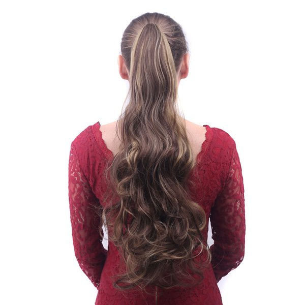 Clip de garra de peluca larga y grande en piezas de cabello de cola de caballo Clip de onda larga Pelucas de cola de caballo resistentes al calor