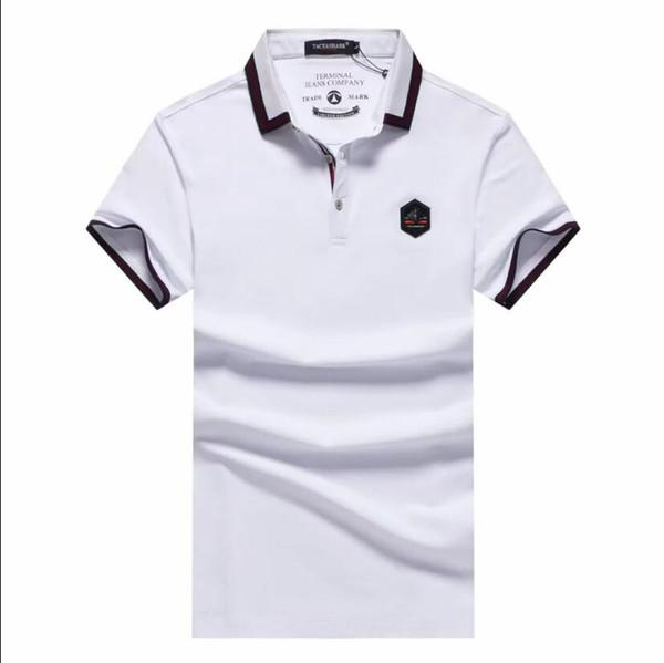 2019 Camiseta de manga corta para hombre Camiseta transpirable de verano con botones Camiseta de color sólido para hombre Camiseta de gran tamaño
