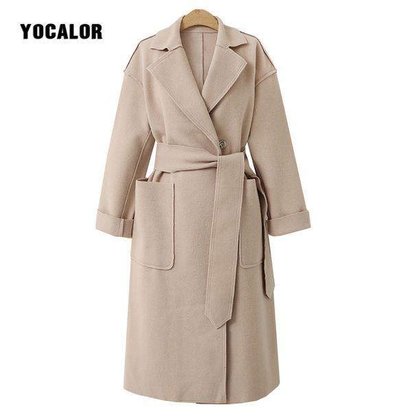 Faux Cashmere Wool Blends Female Overcoat Coats Womens Windbreakers Jackets Autumn Coat Parka Sashes Long Cape Manteau Cloak