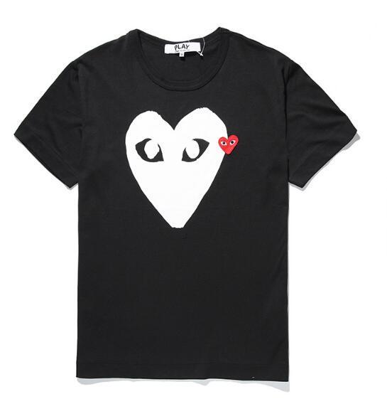 CDG JOGAR t shirt de alta qualidade Homens Mulheres Metade coração T Comme des Garçons Imprimir coração vermelho do amor t-shirt Homens Mulheres Cotton Casual Branca T-S