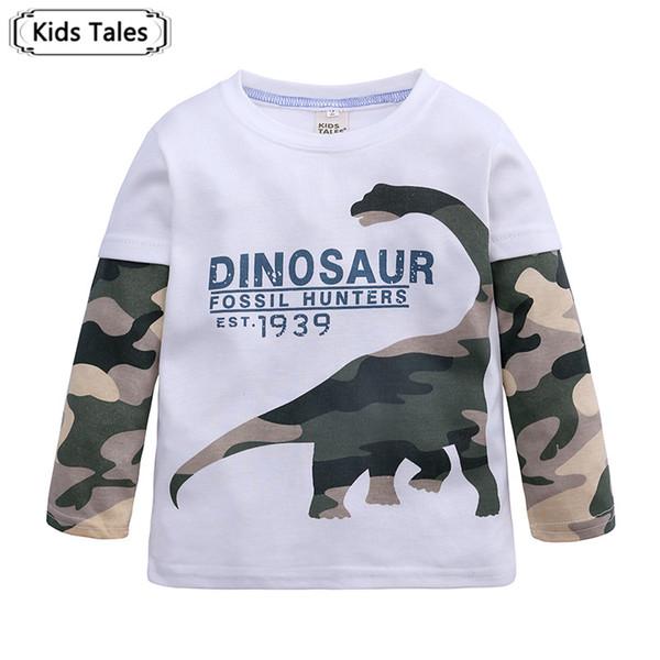 Ropa de niños Moda Primavera Otoño Bebé Niño Camiseta Dinosaurio de Dibujos Animados Ropa de Manga Larga Tops para 2-7 Y Bebes SC154