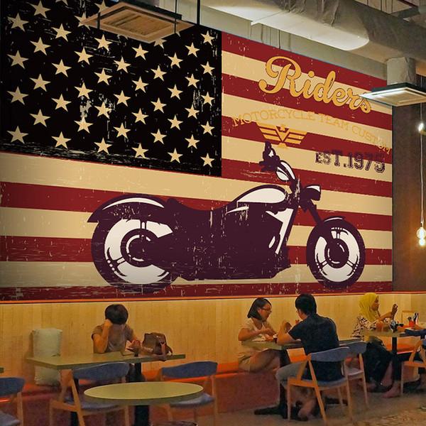 8d/5d Wall Photo Mural Wallpaper Red Stripe Harley Motorcycle Team Custom 3d wall Murals for Bar Room Wall paper 3d papel Murals
