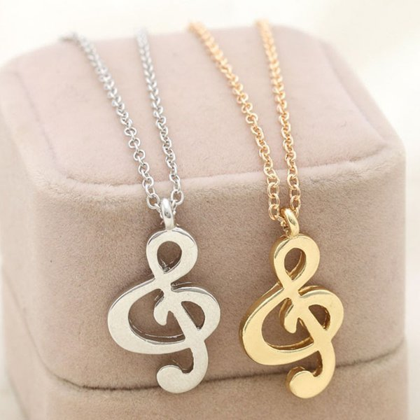 New Hot Women Chic rhythm music note suspension sweater long chain necklace gold and silver color