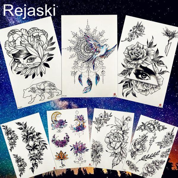 REJASKI Pendant Bird Henna Feather Flower Girl Temporary Tattoo Sticker Geometric Triangle Tattoos Draw Black Tatoo Moon Art