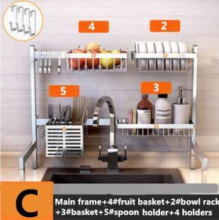 2019 New 63cm 304 Stainless Steel Kitchen Dish Rack Plate Cutlery Cup Dish  Drainer Sink Drying Rack Kitchen Organizer Storage Holder Cset 2 From ...