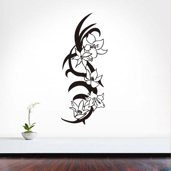 1 Pcs Self Adhesive Beautiful Flowers Wall Decals Removable Art Vinyl Sticker Home Decor For Living Room Sofa TV Background