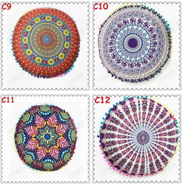 43*43cm Round Cushion Pillow Covers Mandala Meditation Floor Pillows Cover Tapestry Bohemian Pouf Throw Round Cushion Cover