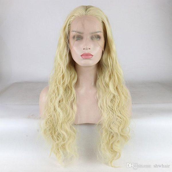 Sarışın Sentetik Dantel Ön Peruk Beyaz Kadınlar Için Tutkalsız Isıya Dayanıklı Fiber Uzun Vücut Dalga Renk Bal Sarışın Sentetik Lacefront Peruk