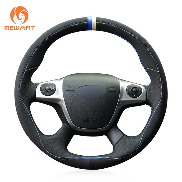 MEWANT 3D Design DIY Black Suede with Leather Steering Wheel Cover Wrap for Ford Focus 3 2012-2014 KUGA Escape 2013-2016 C-MAX 2011-2018