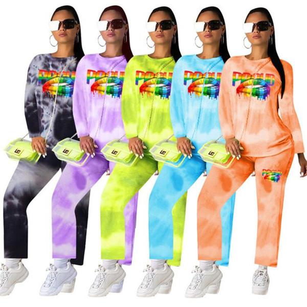 Tasarımcı Kadınlar Hoodies + Pantolon 2 Parça Set Uzun Kollu Gömlek + tozluk Sprots Suit Dudak Baskı Eşofman Artı Boyutu Kıyafetler S-3XL Sweatsuit 905