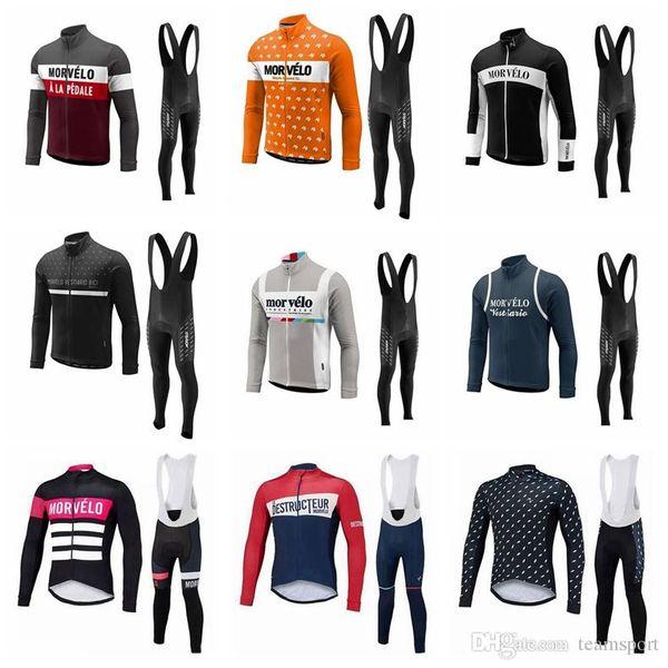Morvelo team Cycling long Sleeves jersey bib pants sets mens quick dry ropa ciclismo MTB clothes racing wear 841402