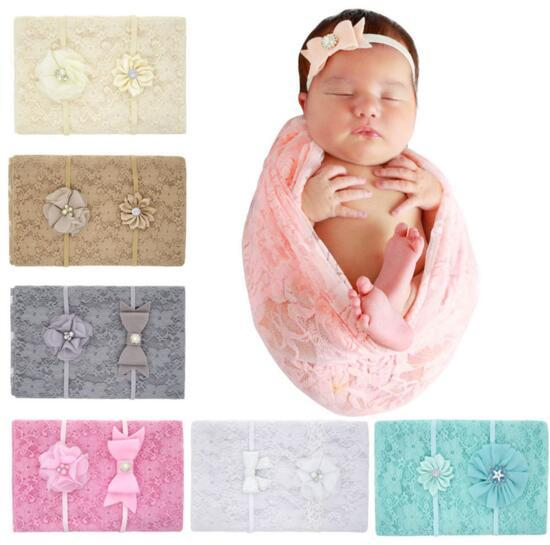 6 Colors baby girls Muslin Swaddles Ins lace Wraps Blankets Nursery Bedding Newborn solid color Print Swaddle + Headband sets C5299
