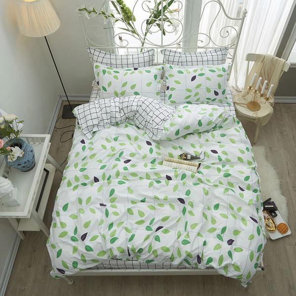 Зеленые листья 4шт девочка мальчик ребенок комплект покрывала пододеяльник Взрослый Ребенок постельное белье и наволочки одеяло комплект постельных принадлежностей 2TJ-61019