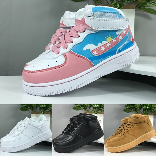 top popular Force One Kids Shoes For Boys And Grils Running Shoes 2019 New Designer AF1 Sneakers Children's Sports Shoes Size Eur 24-35 2021