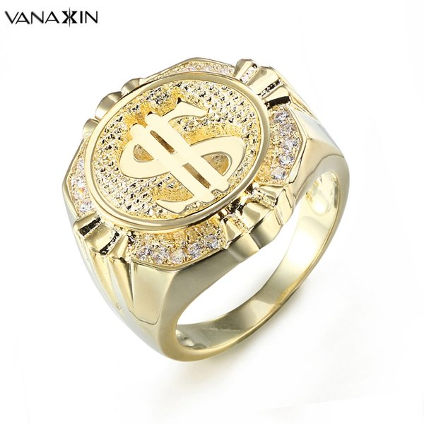 VANAXIN Dollari Mark Rings For Men Hip Hop Gioielli Male Money US Punk Party Gift Nuovo arrivo Colore oro Box Ring all'ingrosso