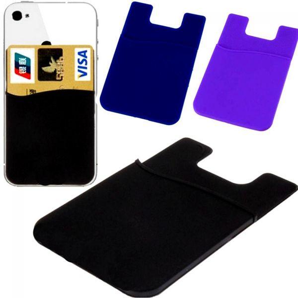 Funda billetera para iPhone 5 6 S 7 8 X Redmi Bolsa flexible Tarjeta adhesiva de crédito Buddy Set Holder Sticker Teléfono móvil Contraportada