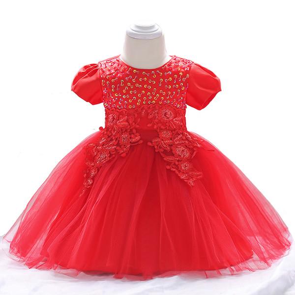 Ropa de bebé elegante y elegante Vestidos de verano para recién nacido arco Traje de manga corta 3 6 9 12 meses 1 año 1er cumpleaños Princesa Y19050801