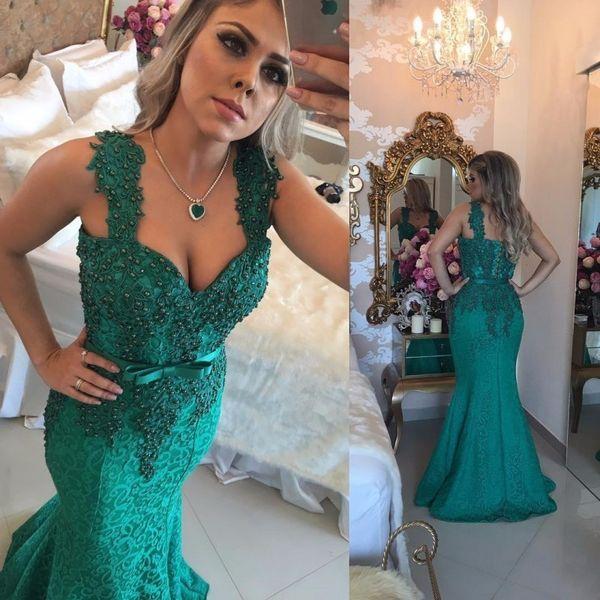 Vestidos De Sereia Longos Desgaste Da Noite Verde Caçador 2019 Queen Anne Querida Vestido De Baile Com Laço Frisado Vestidos Formais À Noite De Volta