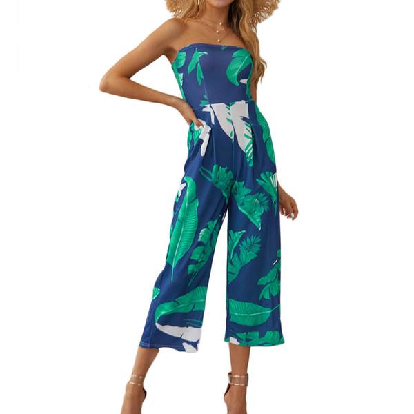 Femmes Été Nouveau sexy enveloppé poitrine numérique feuilles imprimer combinaison sans bretelles Boho pantalon à jambe large Barboteuses
