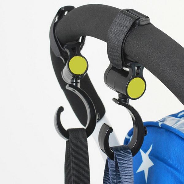 2 Pcs / 4 Pcs Baby Stroller Acessórios gancho gancho multifunções bebê giratória Hanger Stroller Hooks Preto alta qualidade plástica