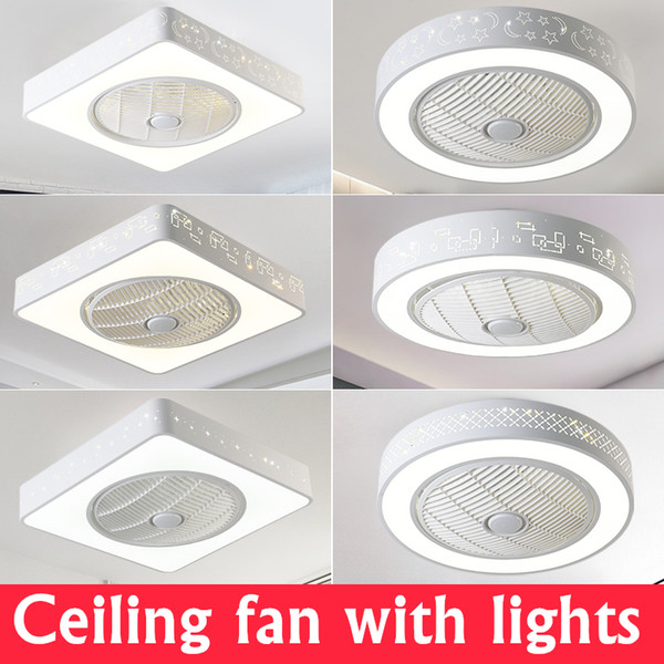 Ceiling Fans Modern LED Ceiling Lights With Fans For Living Room 220V Cooling Ventilador Round Ceiling Fan Lamp With Remote Control