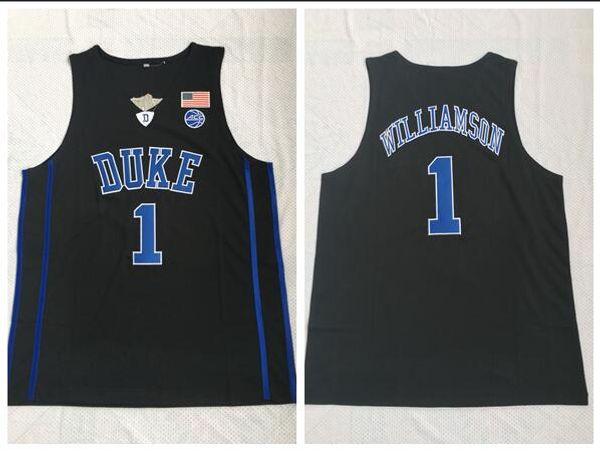 Duke Blue Devils College 2018 Basketball Jersey 1 Zion Williamson Black Embroidered Jerseys