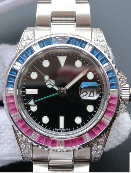 Роскошные Часы 4 Стиль GM / T II 18 К Белое Золото Полный Бриллиант Циферблат 40 мм 116759SANR Автоматические Мужские Часы Модные мужские часы Наручные часы
