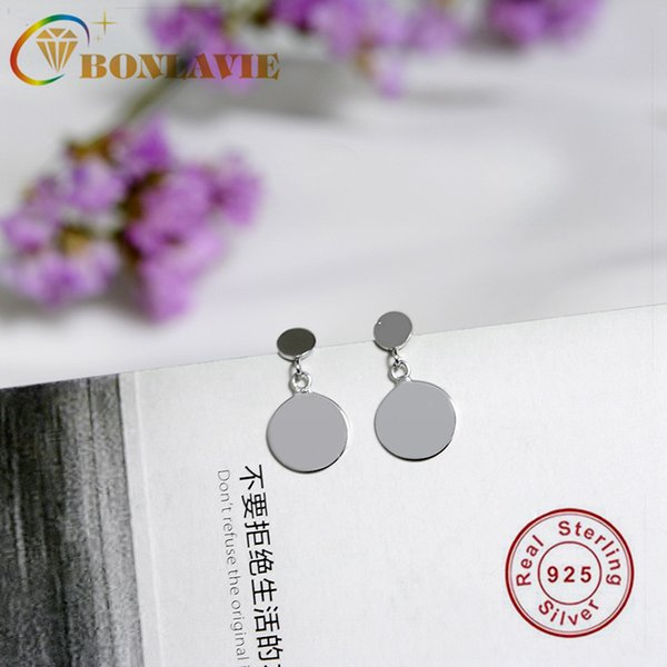 BONLAVIE S925 Sterling Silver Earrings Double Disc Earrings Simple Simple Circle Delicate