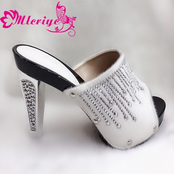 204-2 white New Arruval Sexy Ladies Shoes Party Wedding Shoes Decorated with Rhinestone Elegant Slip on Women Lady Pumps Shoe
