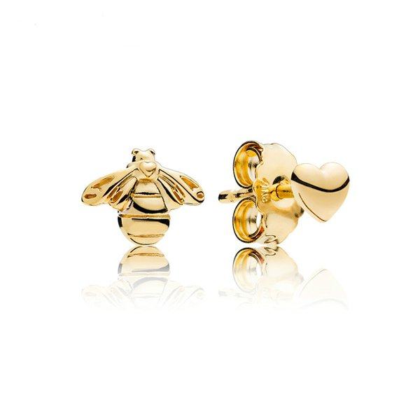 925 Original Silver Shine Love and Bee Ear Studs Fashion Hearts Honey Lace Colorful Bubble Stud Pan Earrings Jewelry