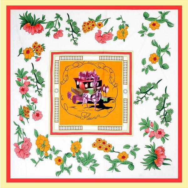 Twill Silk Scarf Women Fashion Large Hijab Carriage Flower Printing Square Scarves Shawls Wraps Female Foulard Bandana 130cm*130cm