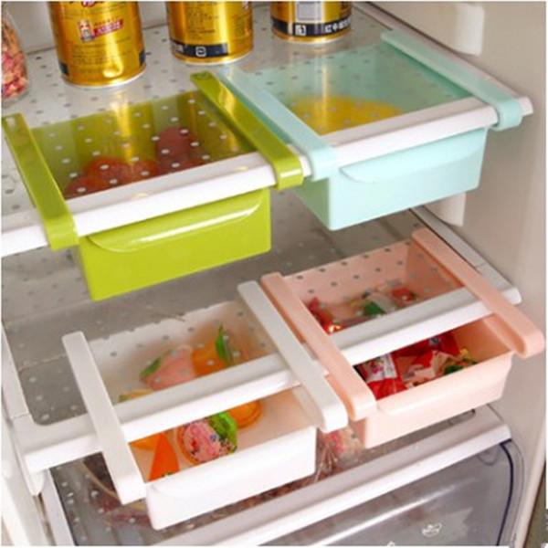 Refrigerador Caja de almacenamiento Capa espaciadora fresca Almacenamiento Rack Cajón Clasificar Accesorios de cocina Organizador colgante 16.5x15.5cm