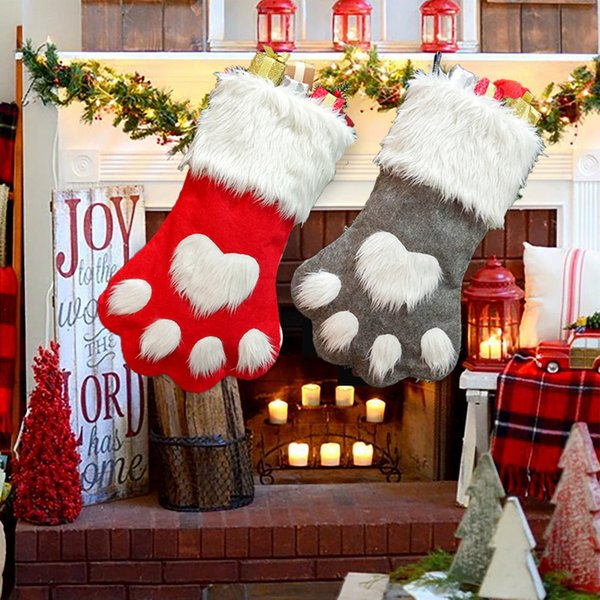 2019 Christmas Stocking Long-haired Dog Claw Christmas Socks Gift Bag Tree Ornaments Decorations for Home