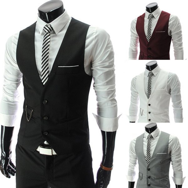 Mens Slim Fit Single Breasted Suit Vest Brand New Formal Dress Business Wedding Vest Waistcoat Men Solid Color Gilet Homme 8824