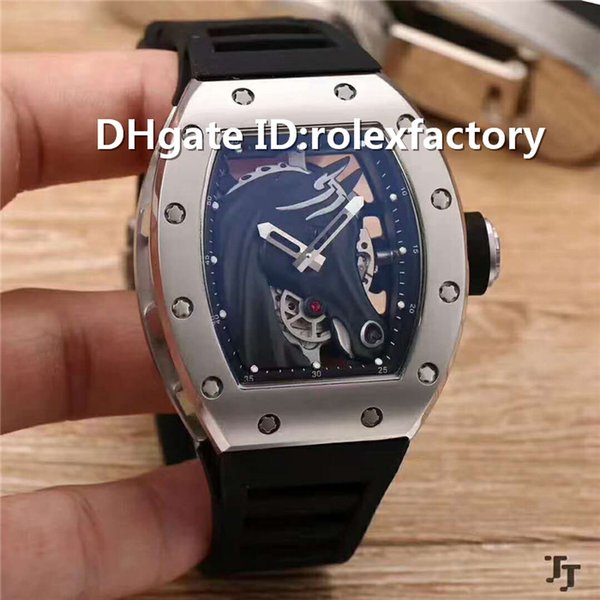 Top Luxury RMUL2 Mens Watch Automatic Sapphire Crystal Stainless Steel Case Remy Martin Dial Rubber Strap transparent case back Mens Watch