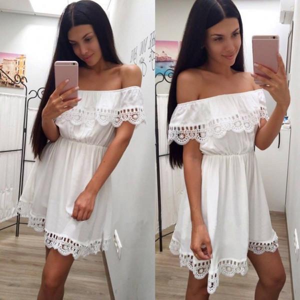 2018 mode frauen elegante vintage süße spitze weißes kleid stilvolle sexy slash neck beiläufige dünne strand sommer sommerkleid vestidos