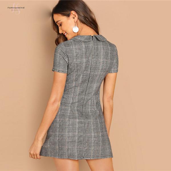 Gris 100% coton Peter-Pan-col Plaid gaine courte à manches courtes évasées moderne automne robe élégante Lady femmes Robes
