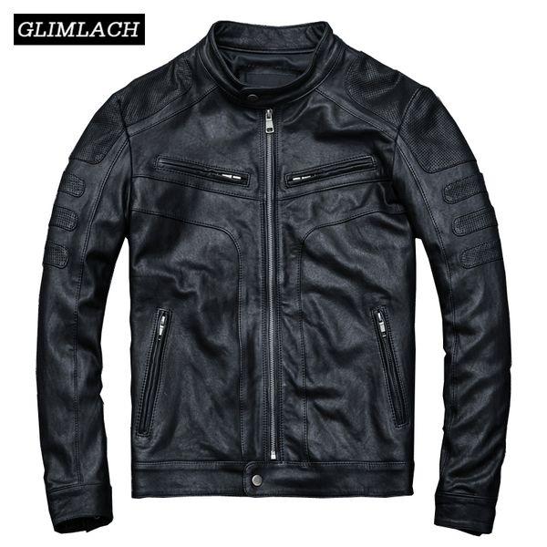 Men Vintage Slim Motorcycle Jackets Luxury Genuine Sheepskin Real Leather Biker Jacket 2019 Autumn Casual Short Outerwear Mens