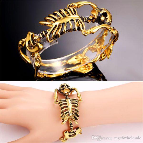 U7 Punk Jewelry Cool Skeleton Bracelet Fashion 18K Gold/Black Gun Plated Stainless Steel Skull Bracelet Hiphop Perfect Accessories GH2180