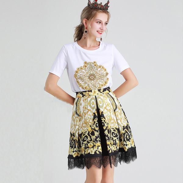 Kadın Tasarımcı Pist Twinsets O Boyun Kısa Kollu Boncuklu T Shirt Baskılı Dantel Patchwork Etekler Iki Parçalı Elbiseler ile Setleri