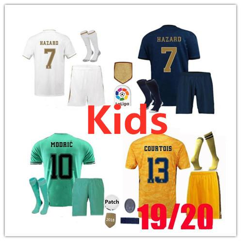 Kit enfants Maillots de football du Real Madrid 2019/20 garçons Accueil Kit de football blanc HAZARD ASENSIO ISCO SERGIO RAMOS KROOS 19 20 Maillots de football pour enfants