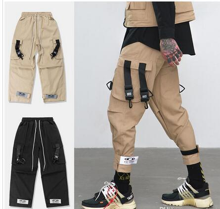 NEW Mens Black Khaki Loose Fit Elastic Waist Cargo Pants Street Ankle Banded Pants Large Pockets Casual Pants Fashion Cargo Trousers
