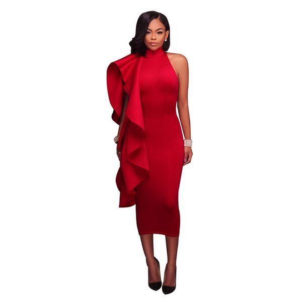 Vestito sexy dalle donne del progettista delle donne di colore solido irregolare che rimbalza fuori dagli abiti del club del partito di vita alta della spalla Vestito elegante dall'attaccatura del Midi