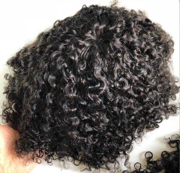 Men Hair System Perücke Men Hairpieces Body Curl Volle Spitze Toupee Jet Black # 1 Malaysische Jungfrau Remy Menschenhaar Ersatz für Schwarze Männer