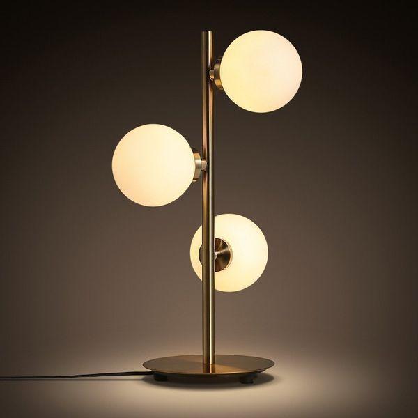 Shade moderna Hierro Oro creativo Art Deco lámpara de mesa de cristal Study Desk Lamp / Mesita de noche de iluminación G4 bola redonda Lámpara de mesa ccsme